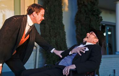 Peter Ruocco (Jung) and Louis Parnell (Freud) tangle in Lynne Kaufman's THE COUCH.   Photo by Jim Norrena.