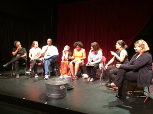 Cast members and playwright Robin Bradford discuss LOW HANGING FRUIT with the audience